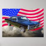 1967 Pontiac GTO and American Flag Print