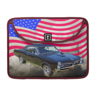 1967 Pontiac GTO and American Flag Sleeve For MacBooks