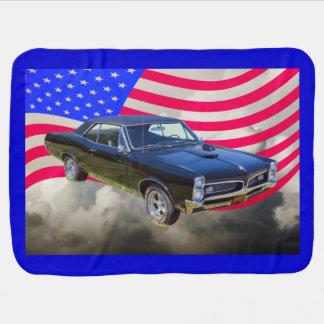 1967 Pontiac GTO and American Flag Swaddle Blanket