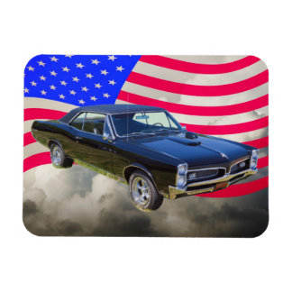 1967 Pontiac GTO y bandera americana Iman De Vinilo