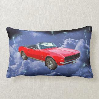 1967 red Camaro Muscle Car and Lightning Bolts Lumbar Pillow