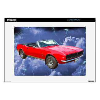 """1967 red Camaro Muscle Car and Lightning Bolts Skin For 15"""" Laptop"""