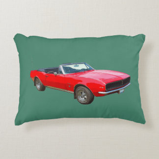 1967 Red Convertible Camaro Muscle Car Accent Pillow