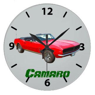1967 red convertible Camaro Muscle Car Large Clock