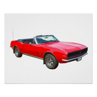 1967 Red Convertible Camaro Muscle Car Poster