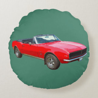 1967 Red Convertible Camaro Muscle Car Round Pillow