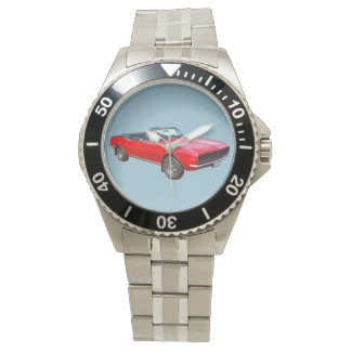 1967 Red Convertible Camaro Muscle Car Wrist Watch