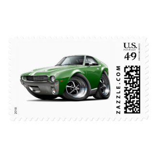 1968-69 AMX Green-White Car Postage Stamp