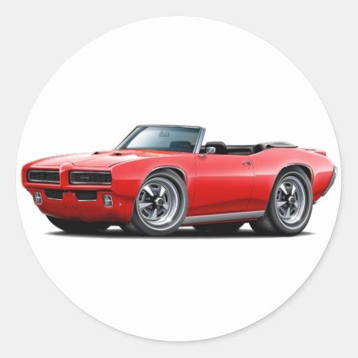 1968-69 convertible rojo de GTO Pegatina Redonda
