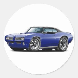 1968-69 GTO Dk Blue-Black Top Car Classic Round Sticker