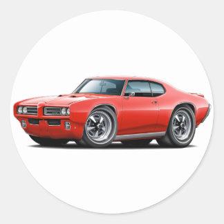1968-69 GTO Red Car Classic Round Sticker