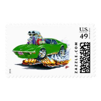 1968-72 Corvette Green Car Postage Stamp
