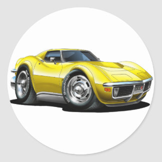 1968-72 Corvette Yellow Car Classic Round Sticker