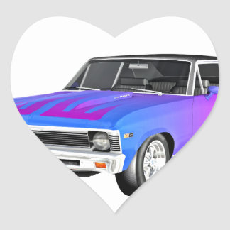 1968 AM Muscle Car in Purple and Blue Heart Sticker