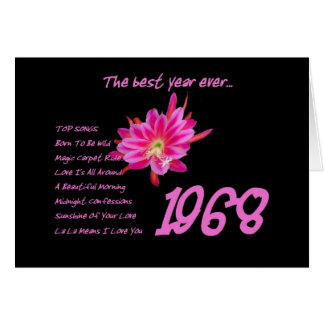1968 Birthday - The Best Year Ever with Hit Songs Greeting Card