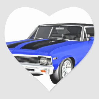 1968 Blue Muscle Car Heart Sticker