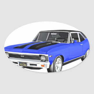 1968 Blue Muscle Car Oval Sticker