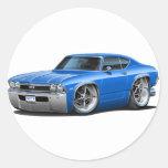1968 Chevelle Blue Car Round Stickers