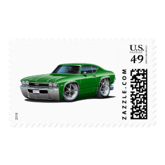 1968 Chevelle Green Car Postage Stamp