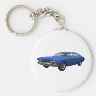 1968 Chevelle SS: Blue Finish Basic Round Button Keychain
