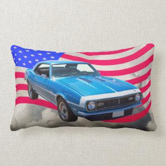 1968 Chevrolet Camaro And American Flag Lumbar Pillow