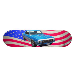 1968 Chevrolet Camaro And American Flag Skateboard
