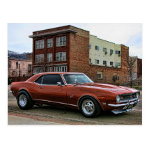 1968 chevy camaro muscle car postcard
