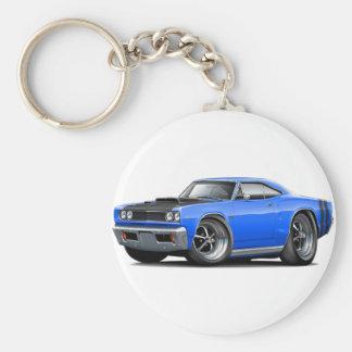 1968 Coronet RT Blue-Black Hood Scoop Car Basic Round Button Keychain