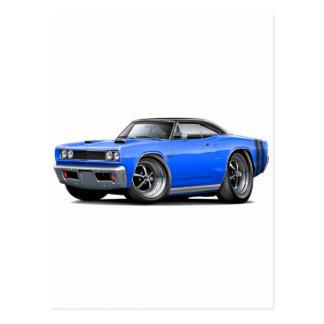 1968 Coronet RT Blue-Black Top Double Scoop Hood C Postcard
