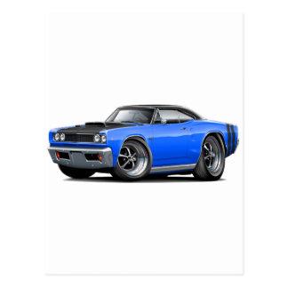 1968 Coronet RT Blue-Black Top Hood Scoop Car Postcard