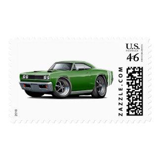 1968 Coronet RT Green-Black Double Hood Scoop Car Stamps