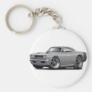 1968 Coronet RT Grey-Black Double Hood Scoop Car Basic Round Button Keychain
