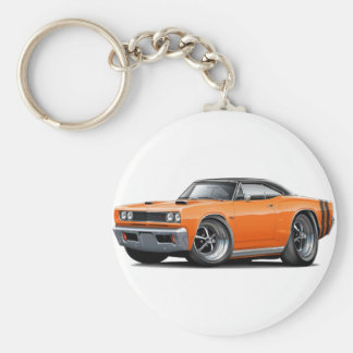 1968 Coronet RT Orange-Black Top Double Hood Scoop Basic Round Button Keychain