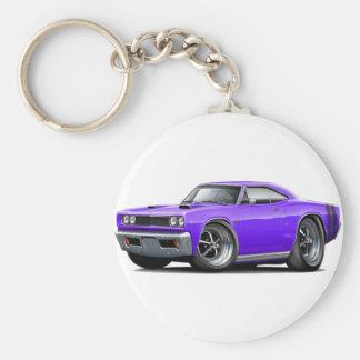 1968 Coronet RT Purple-Black Double Hood Scoop Car Basic Round Button Keychain