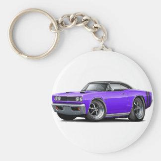 1968 Coronet RT Purple-Black Top Double Hood Scoop Basic Round Button Keychain