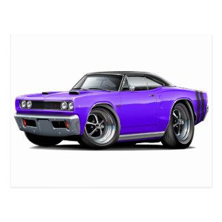 1968 Coronet RT Purple-Black Top Double Hood Scoop Postcard