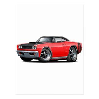 1968 Coronet RT Red-Black Top Hood Scoop Car Postcard