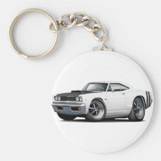 1968 Coronet RT White-Black Hood Scoop Car Basic Round Button Keychain