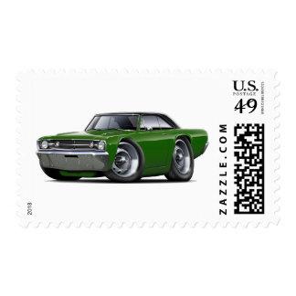 1968 Dart Dark Green-Black Top Car Postage Stamp