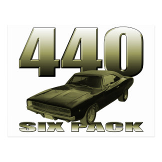 1968 dodge charger 440 six pack postcard
