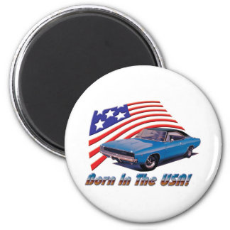 """1968 Dodge Charger """"Born in the USA"""" 2 Inch Round Magnet"""
