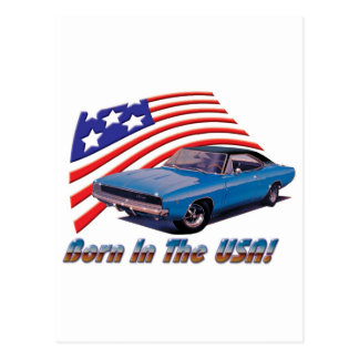 """1968 Dodge Charger """"Born in the USA"""" Post Cards"""