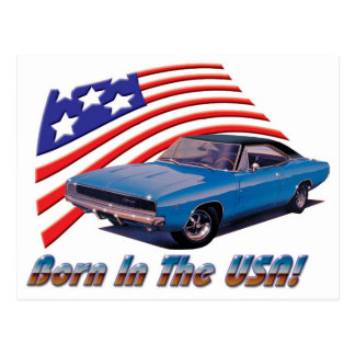"""1968 Dodge Charger """"Born in the USA"""" Postcard"""