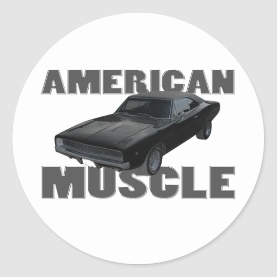1968 dodge charger r/t american muscle classic round sticker
