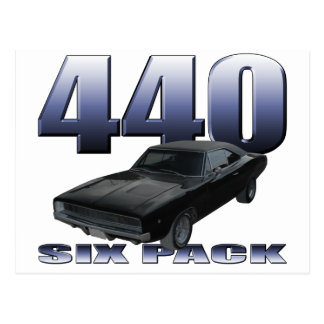 1968 dodge charger rt 440 six pack postcard