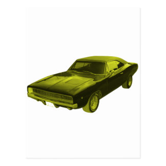 1968 dodge charger yellow postcard