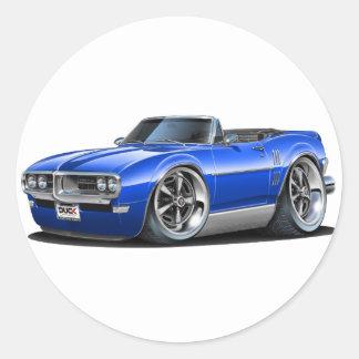 1968 Firebird Blue Convertible Classic Round Sticker