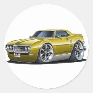 1968 Firebird Gold Car Classic Round Sticker