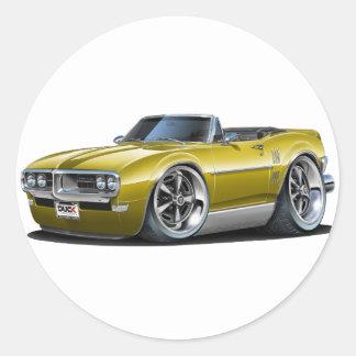 1968 Firebird Gold Convertible Classic Round Sticker
