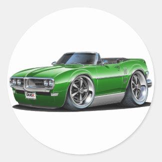 1968 Firebird Green Convertible Classic Round Sticker